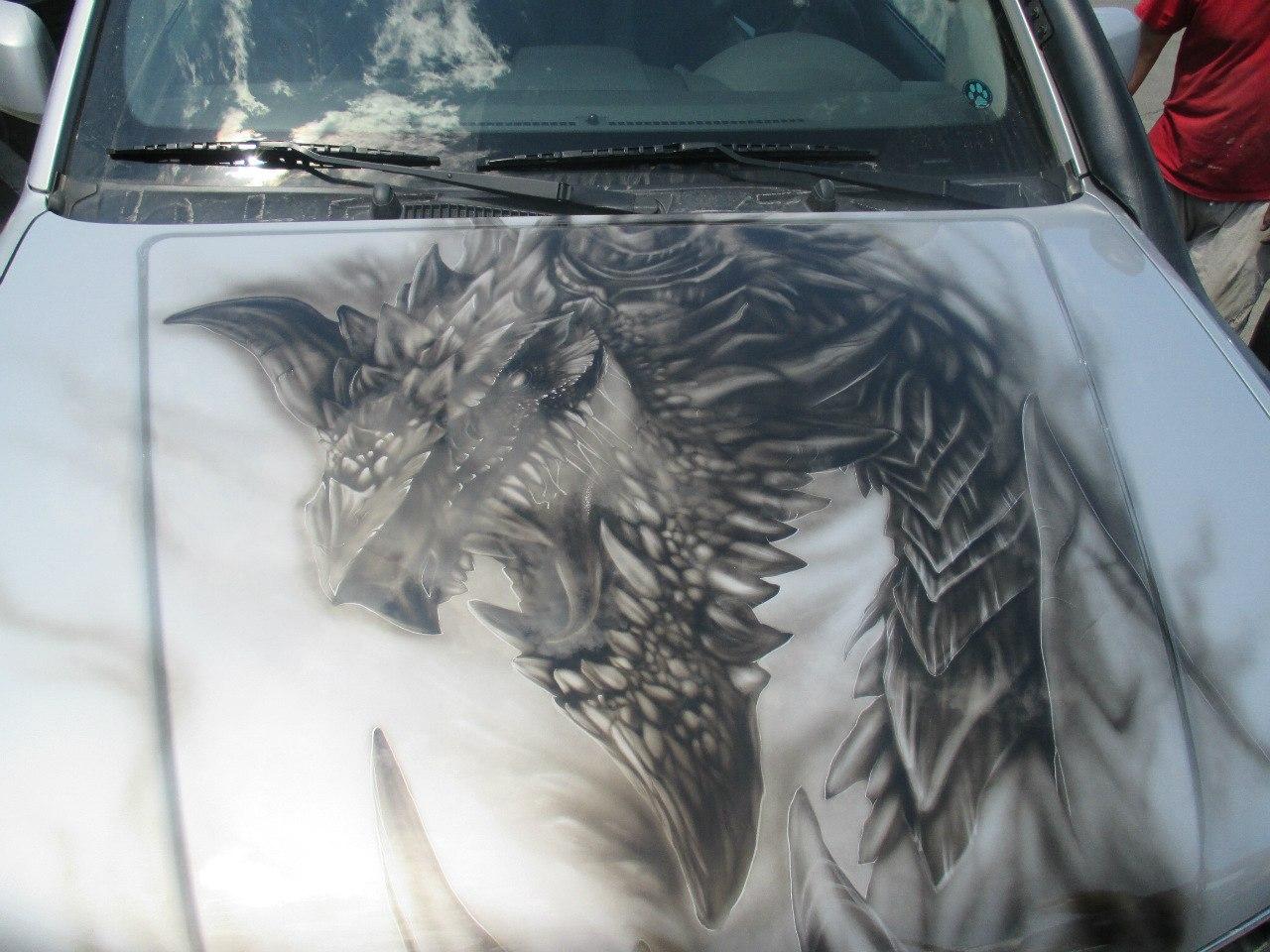 Аэрография на авто, Ниссан - Дракон